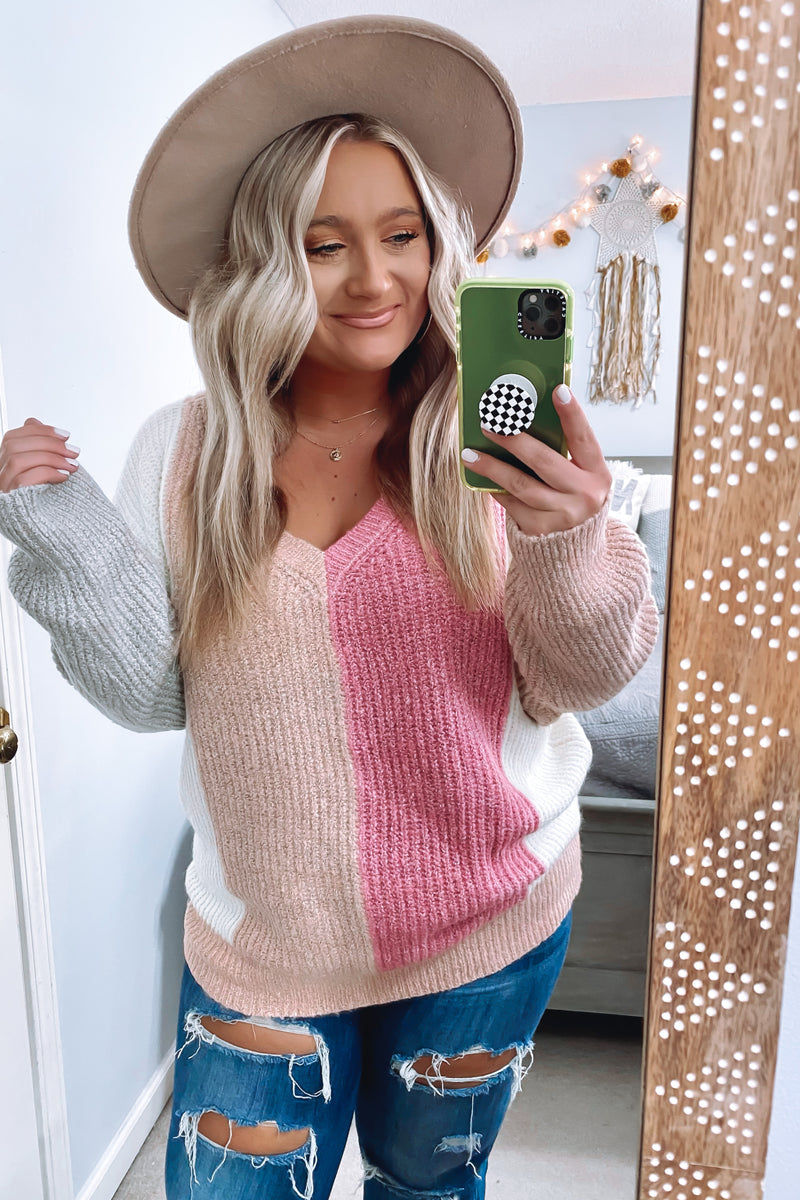 Listen Closely Ribbed Color Block Sweater - Madison and Mallory
