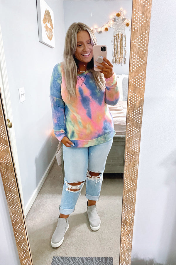 S / Multi Back to It Tie Dye Pullover - Madison and Mallory