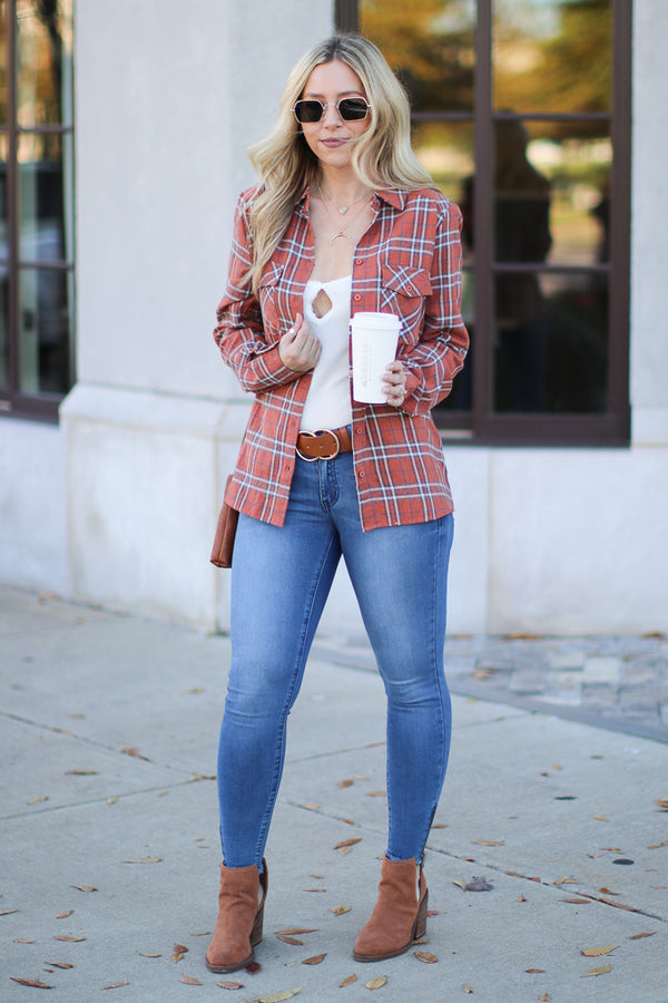 Colin Plaid Button Down Top - Madison + Mallory
