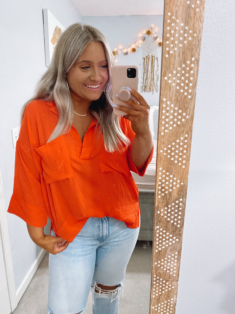 Light Hearted Flowy Collared Blouse - Coral - Madison and Mallory