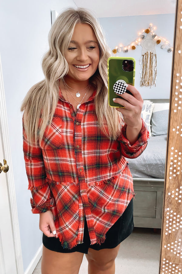 Melstone Raw Hem Plaid Top - Madison and Mallory