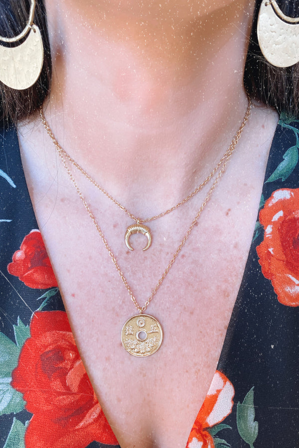 Gold Moving Moment Coin Layered Necklace - Madison and Mallory