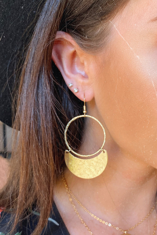 Gold Ciarra Brass Dangle Earrings - Madison and Mallory