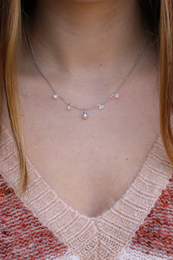 Silver Alistair Pearl and CZ Crystal Necklace - Madison + Mallory
