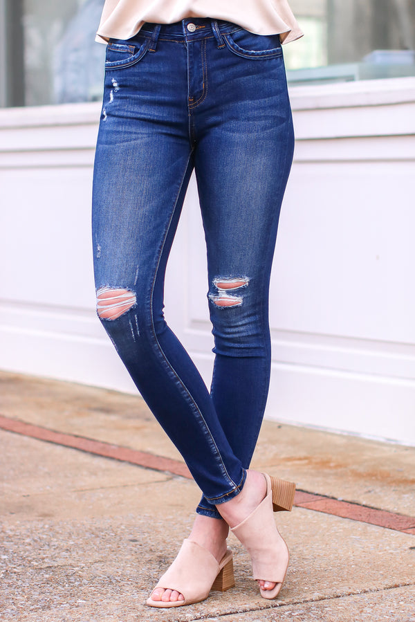 0/24 / Dark Camari Distressed High Rise Skinny Jeans - Madison and Mallory