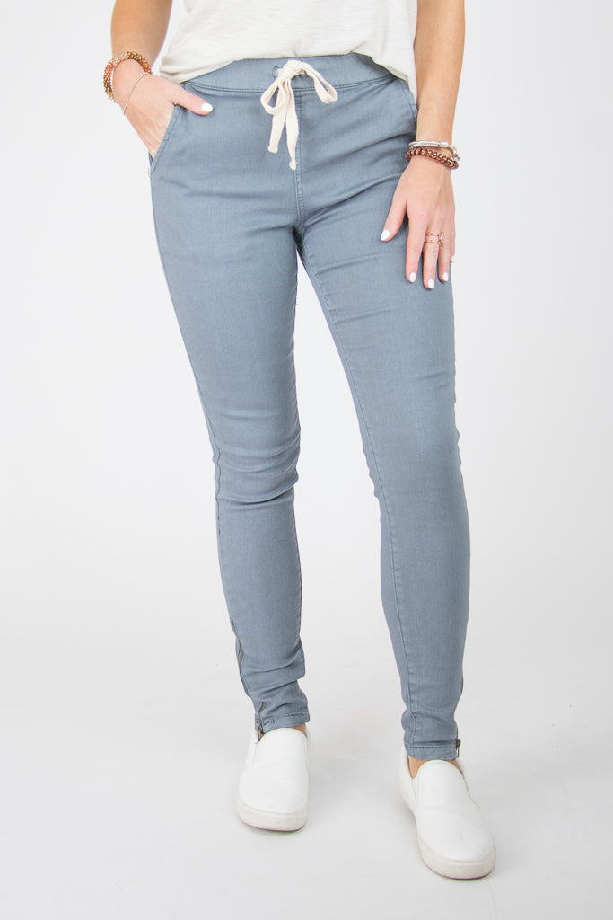 S / Teal Drawstring Ankle Zip Pants - Madison + Mallory