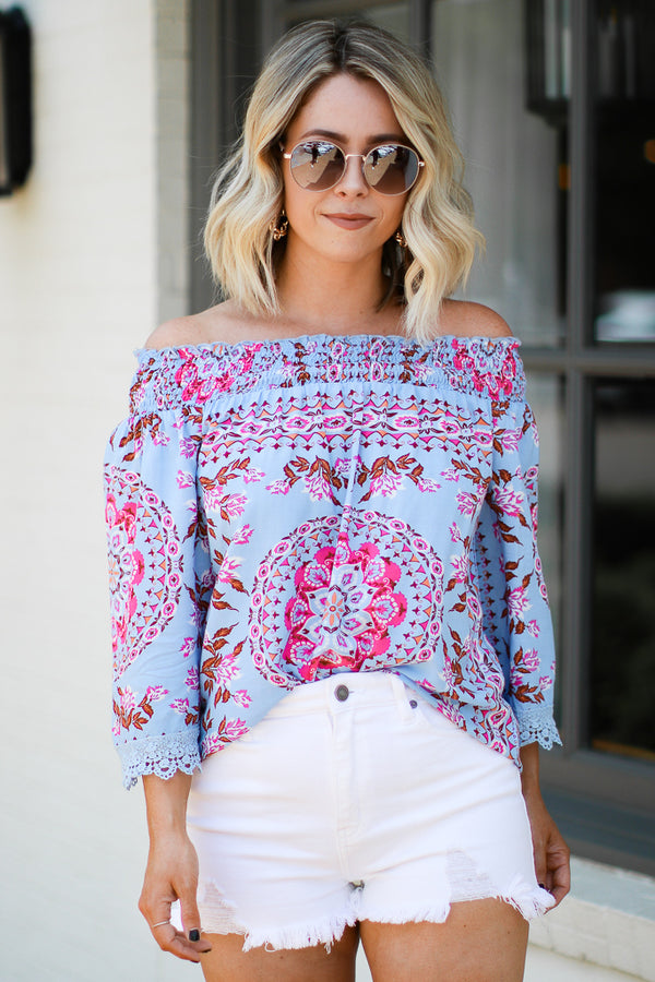 S / Blue Rendezvous Ornate Print Off Shoulder Top - Madison + Mallory