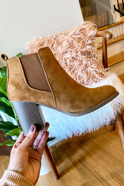 5.5 / Light Hazel Found My Way Faux Seude Heeled Booties - Madison and Mallory