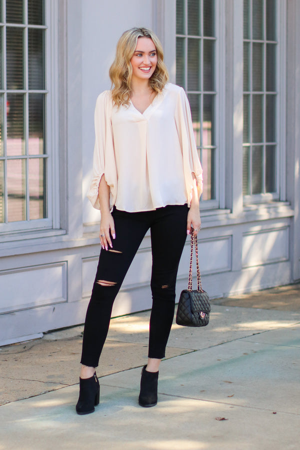 Celina Bishop Sleeve Blouse - FINAL SALE - Madison and Mallory
