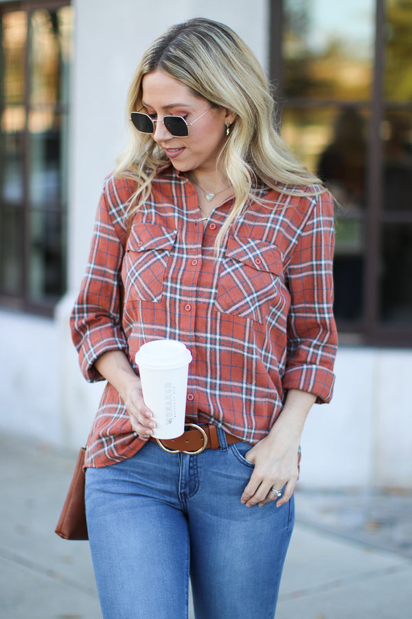 S / Tan Colin Plaid Button Down Top - Madison + Mallory