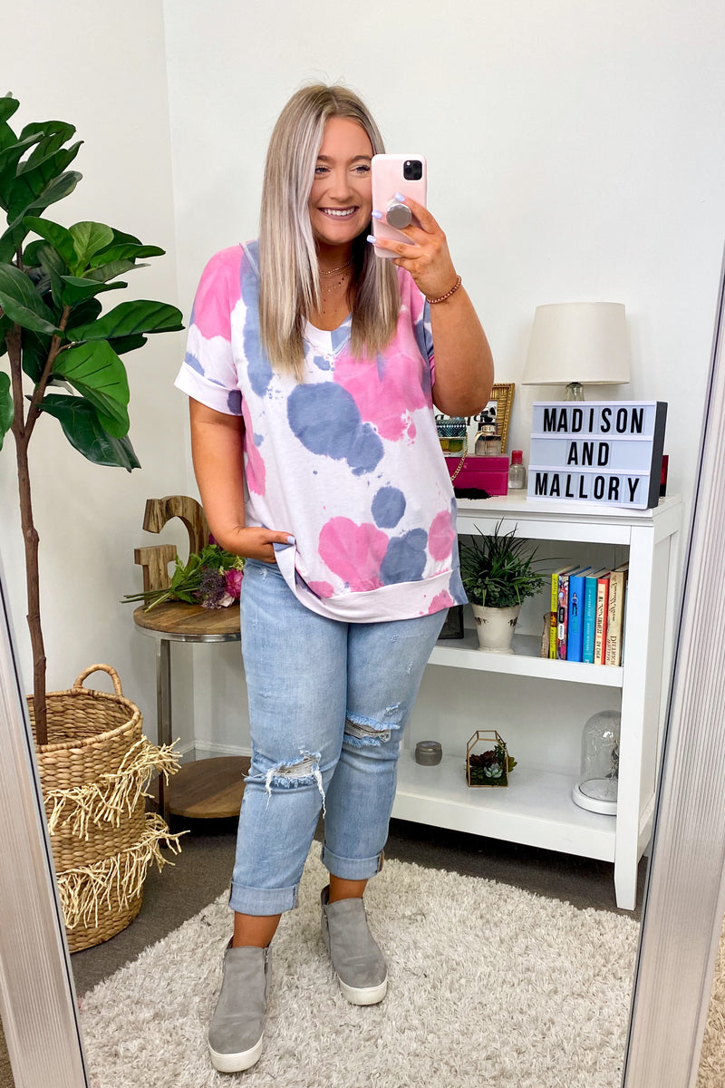 Pink / S In Good Time Tie Dye Top - Pink - FINAL SALE - Madison and Mallory