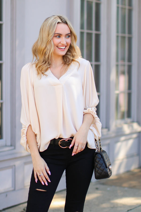 S / Khaki Celina Bishop Sleeve Blouse - Madison + Mallory
