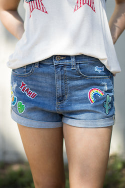 S / Md. Light Patched Boyfriend Shorts - FINAL SALE - Madison and Mallory
