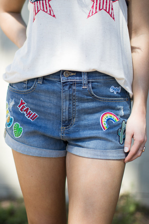 Patched Boyfriend Shorts - FINAL SALE - Madison + Mallory