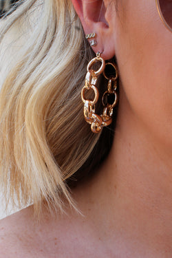 OS / Gold Chain Link Hoop Earrings - Madison + Mallory