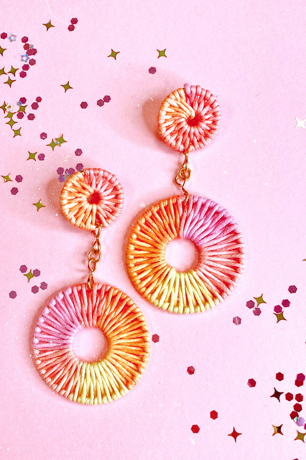 Pink Palma Wrapped Circle Drop Earrings - Madison and Mallory