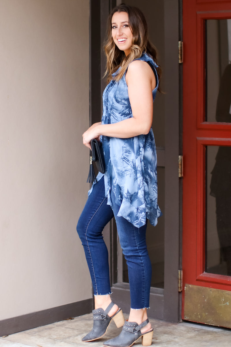 Low Tide Printed Ruffle Tunic Top - FINAL SALE - Madison and Mallory
