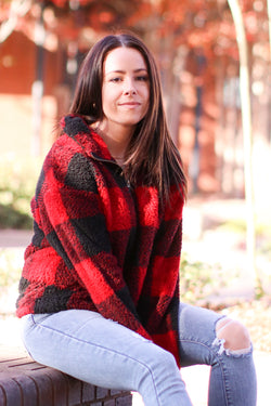 Red / S Brookfield Plaid Sherpa Pullover | Doorbuster - Madison and Mallory