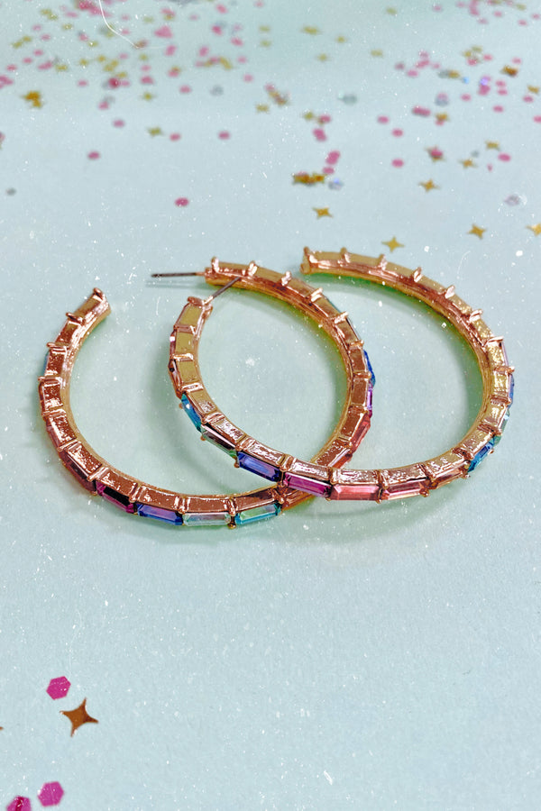Multi Oberon Rhinestone Hoop Earrings - Multi - Madison and Mallory