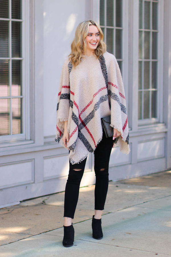 Cozy Satisfaction Plaid Poncho - Madison + Mallory