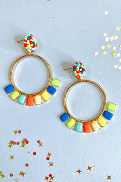 Multi Soiree Circle Bead Drop Earrings - Madison and Mallory