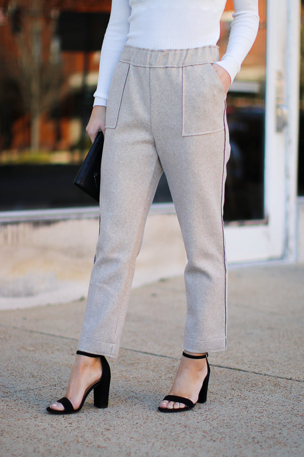 S / Caramel Brooks Knit Pants - FINAL SALE - Madison and Mallory