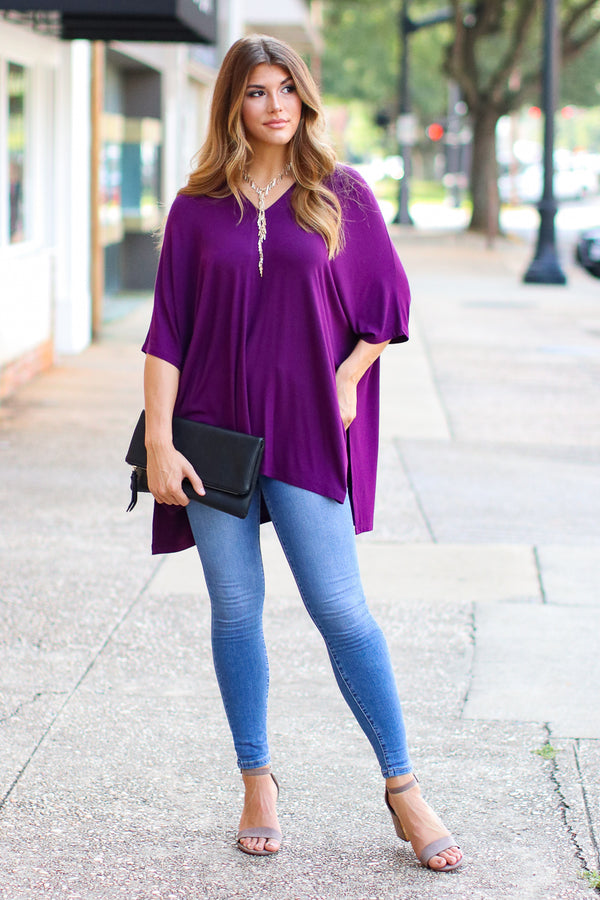 Veronica Oversized Knit Top - Purple - Madison + Mallory