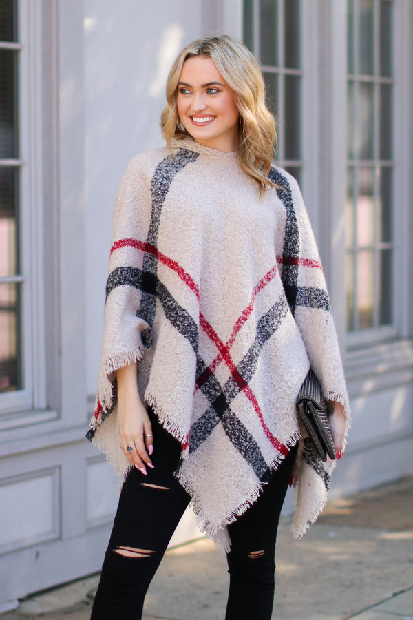 One Size / Beige Cozy Satisfaction Plaid Poncho - Madison + Mallory