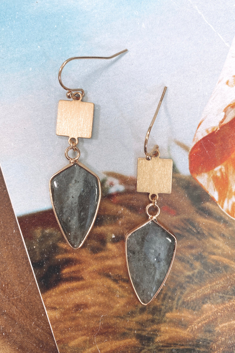 Gray Ravenel Stone Drop Earrings - Madison and Mallory