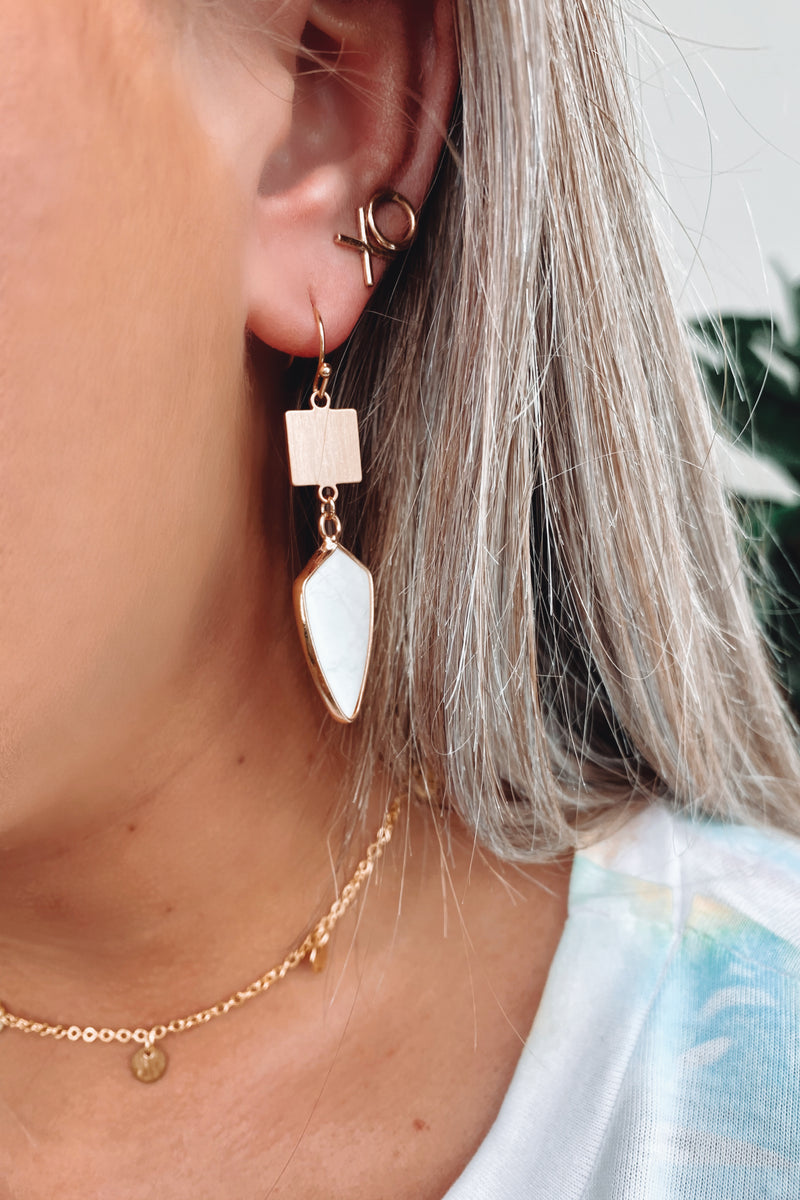 White Ravenel Stone Drop Earrings - Madison and Mallory