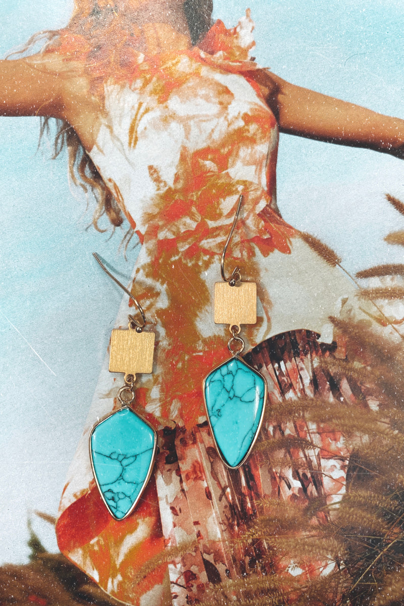 Turquoise Ravenel Stone Drop Earrings - Madison and Mallory