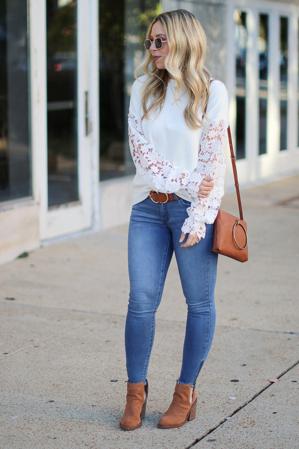 All About That Lace Sleeve Top - Ivory - Madison + Mallory
