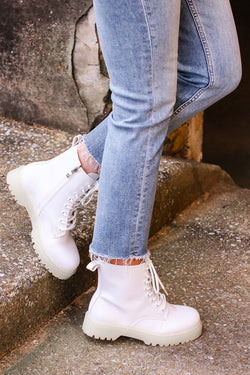 White / 5.5 My Generation Faux Leather Combat Boots - Madison and Mallory