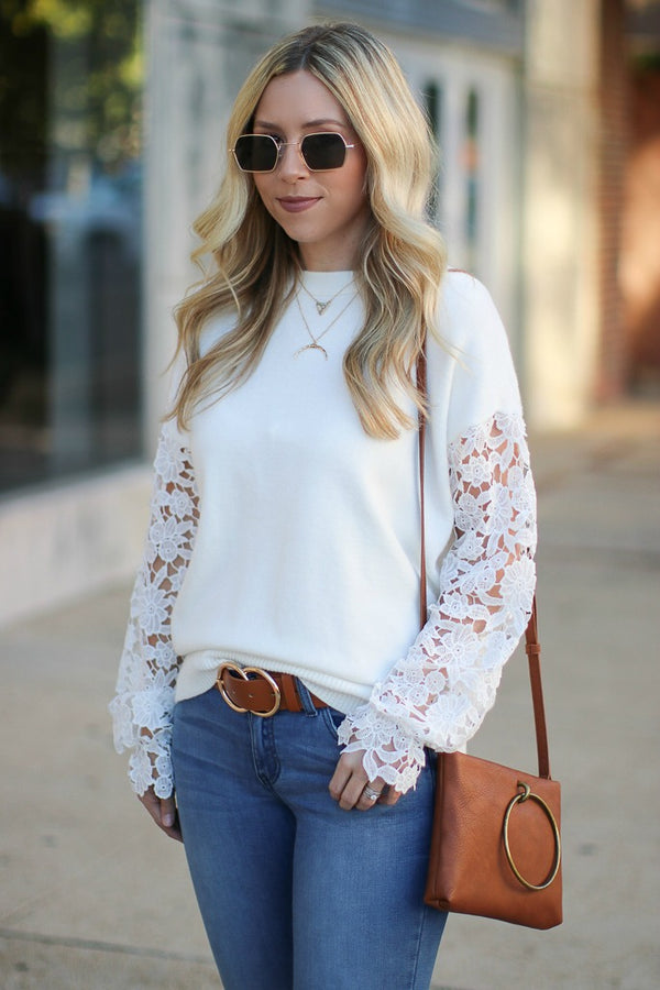 S / Ivory All About That Lace Sleeve Top - Ivory - Madison + Mallory