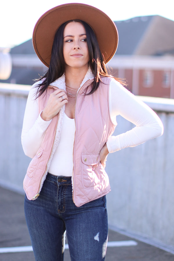 Blush / S Norridge Reversible Sherpa Quilted Vest | Doorbuster - Madison and Mallory
