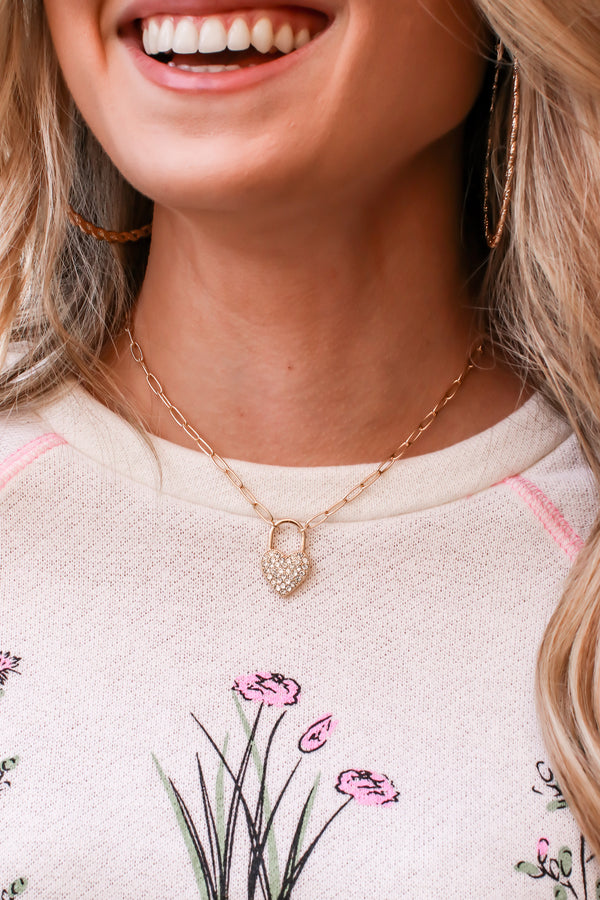 Gold Living for Love Crystal Heart Lock Necklace - Madison and Mallory