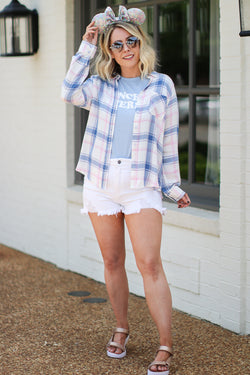 Ivory / S Mirin Plaid Flannel Top - Ivory | CURVE - Madison + Mallory