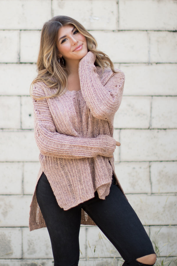 S/M / Blush V-Neck Long Sleeve Sweater - Madison + Mallory