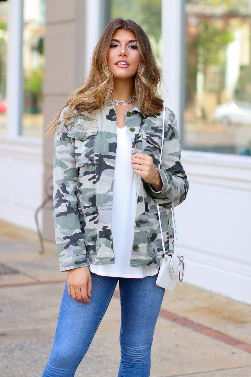 S / Army Tarni Camo Jacket - FINAL SALE - Madison + Mallory