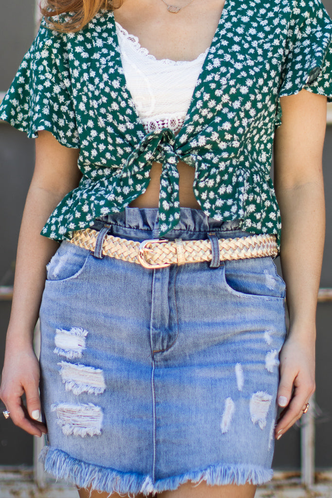 Gold / OS Holographic Braided Belt - Madison + Mallory