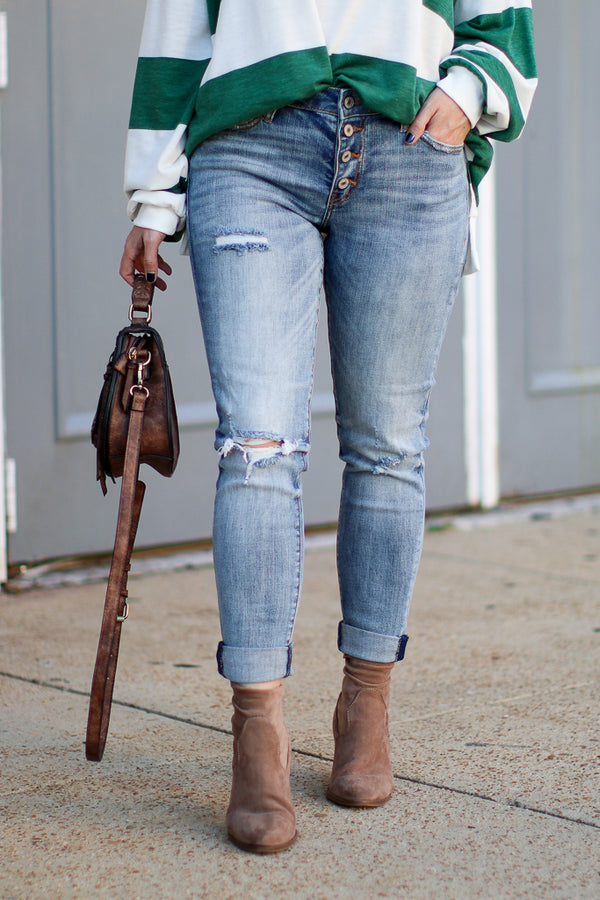 1/24 Deliza Distressed Girlfriend Jeans - Madison + Mallory
