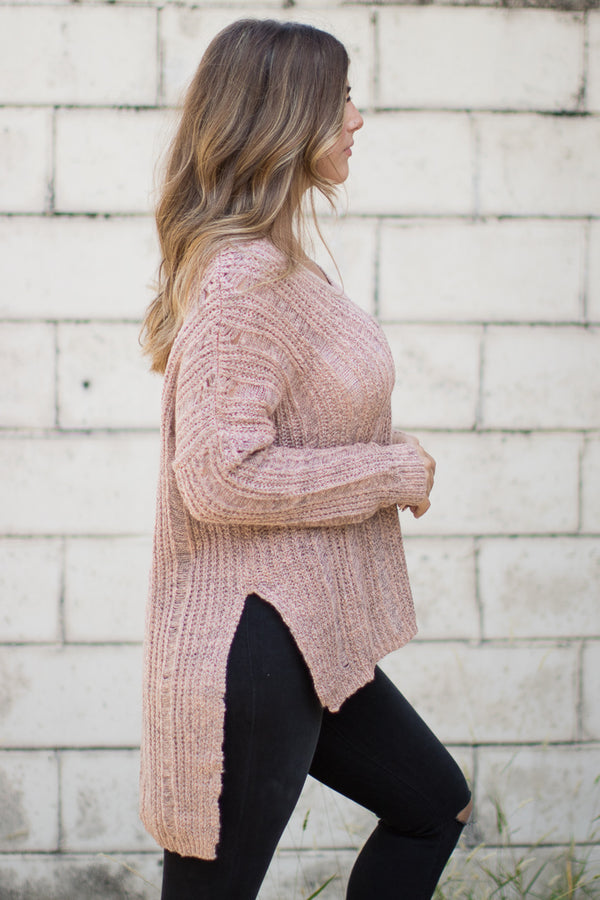 V-Neck Long Sleeve Sweater - Madison + Mallory