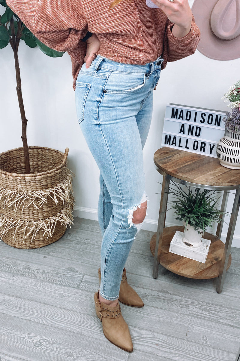 Brimley High Rise Distressed Jeans - Madison and Mallory