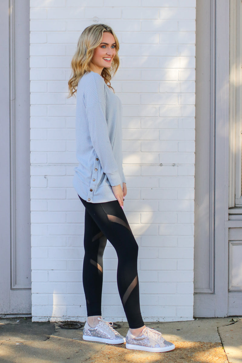 Mesh Accent Leggings - FINAL SALE - Madison and Mallory