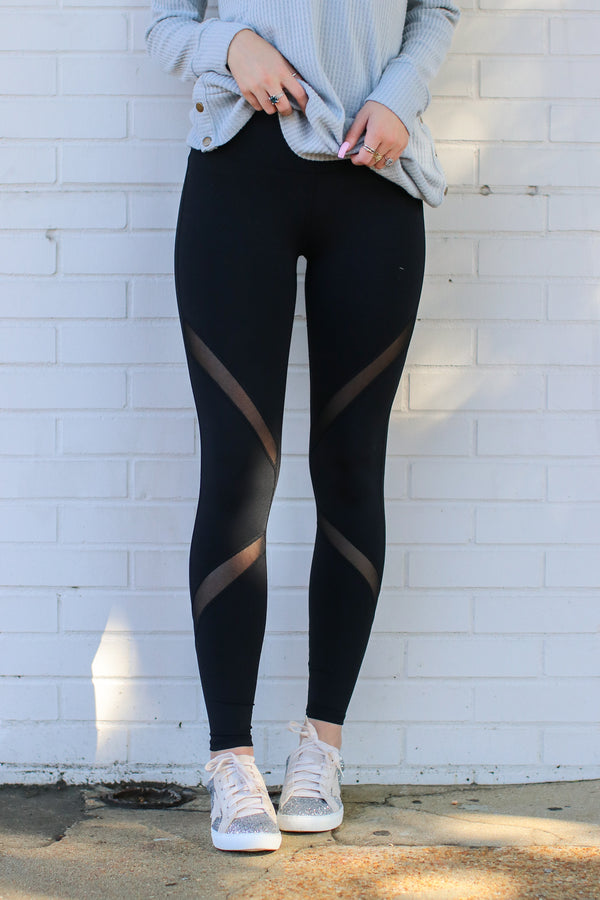 Mesh Accent Leggings - Madison + Mallory
