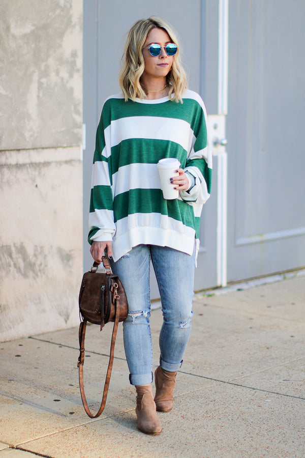 Sonya Striped Knit Sweater - Madison + Mallory