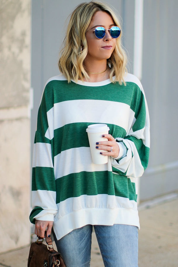 S / Green Sonya Striped Knit Sweater - Madison + Mallory