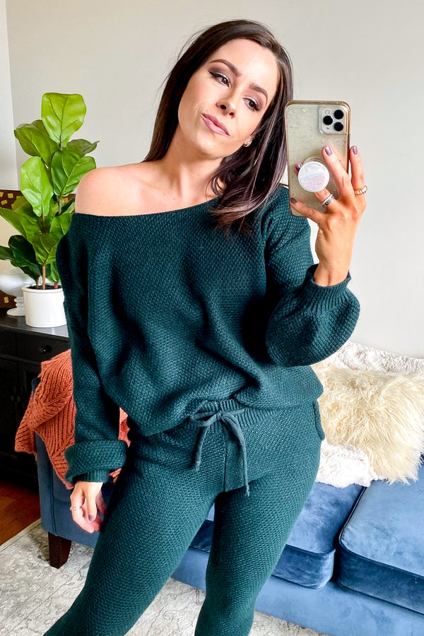 Hunter Green / S Casual Talks Relaxed Knit Top - Madison and Mallory