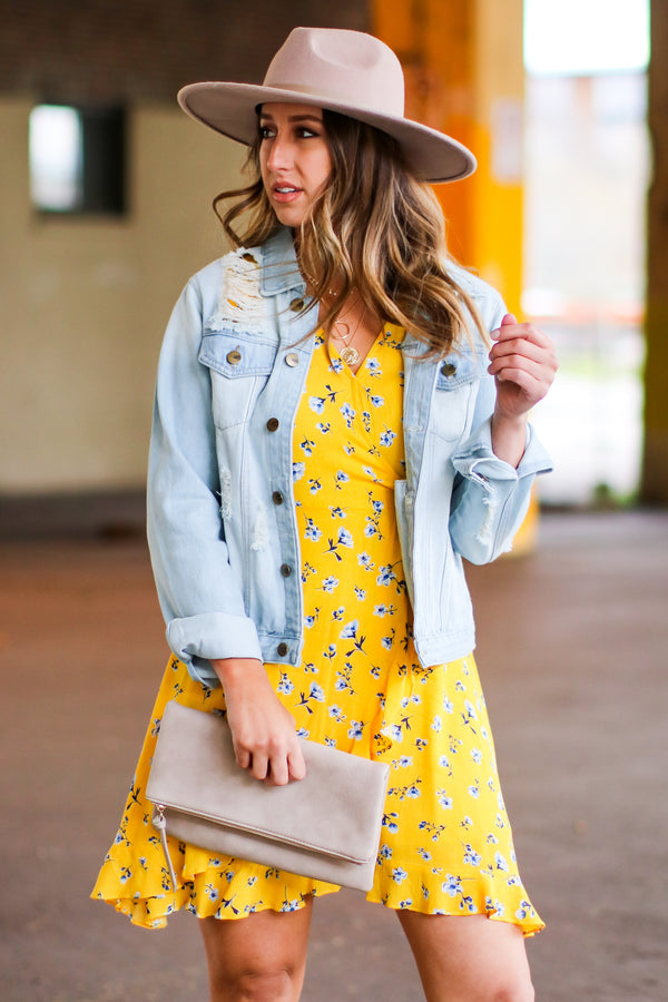 S / Yellow Sharee Dainty Floral Flutter Dress - Madison and Mallory