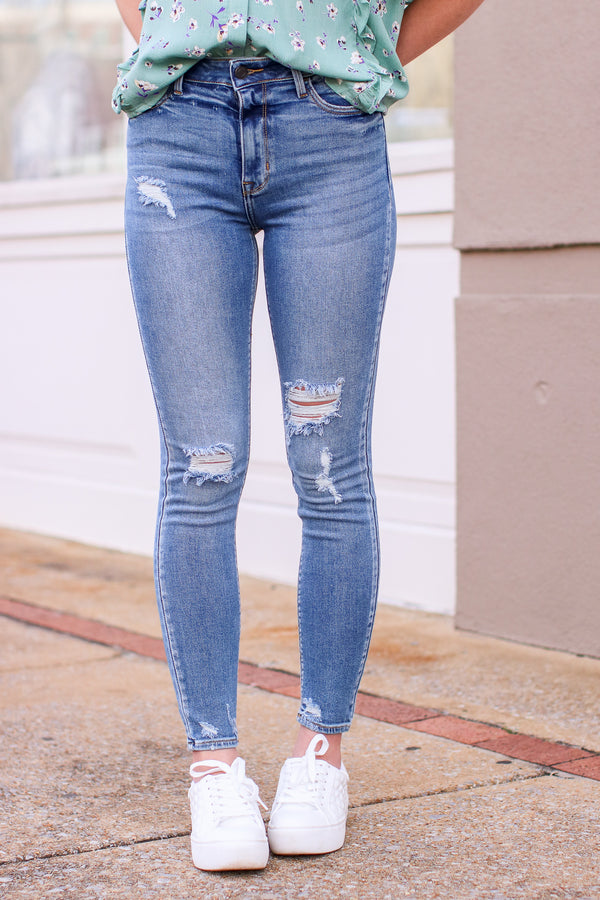 Jaslynn High Rise Distressed Jeans - Madison and Mallory